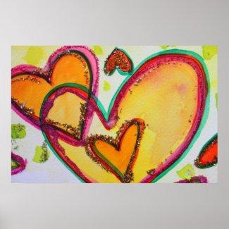 Laugh Hearts Painting Art Poster Print print