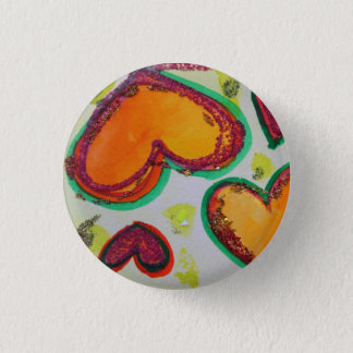 Laugh Hearts Pink Bliss Art Buttons or Lapel Pins