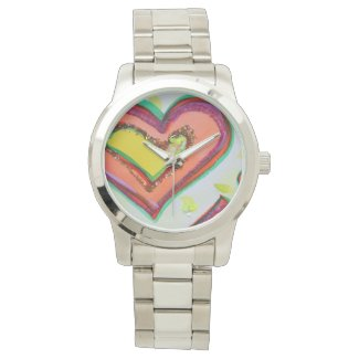 Laugh Hearts Two Hearts Colorful Art Custom Watch