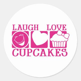 Laugh Love Cupcakes Classic Round Sticker
