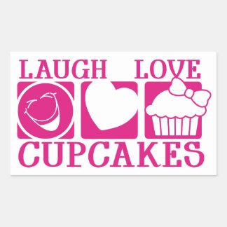 Laugh Love Cupcakes Rectangular Sticker