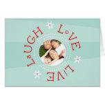Laugh, Love, Live: Winter Aqua Greeting Card