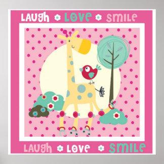 laugh, love, smile wall decor print