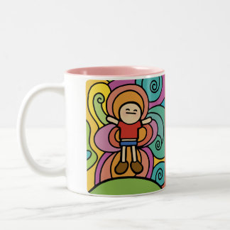laugh more mug. Two-Tone coffee mug