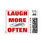 Laugh More Often Funny Humorous Motivational Quote Stamp