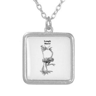 Laugh More Ostrich and Friends Cartoon Square Pendant Necklace