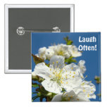 Laugh Often! buttons Cherry Blossom Flowers Floral