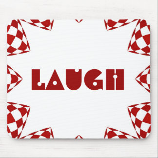 """Laugh"" on red & white checked design Mouse Pad"
