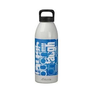 Laugh; Royal Blue Stripes Reusable Water Bottle