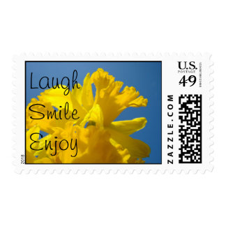 Laugh Smile Enjoy stamps Daffodil postage Flowers