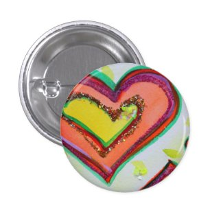 Laugh Two Hearts Art Buttons or Lapel Pins