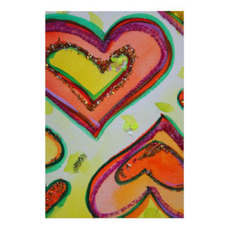 Laugh Two Hearts Painting Art Poster Print