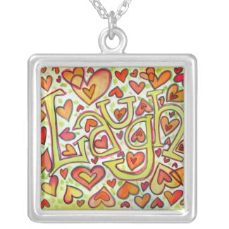 Laugh Word Painting Artwork Silver Necklace Charm