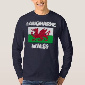 Laugharne, Wales with Welsh flag T-Shirt