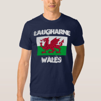 Laugharne, Wales with Welsh flag T-shirts