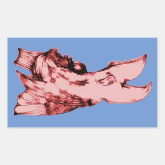 Laughing Alien Sea Creature Rectangular Sticker