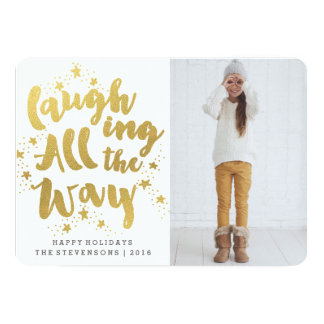 LAUGHING ALL THE WAY | GOLDEN HOLIDAY PHOTO CARD