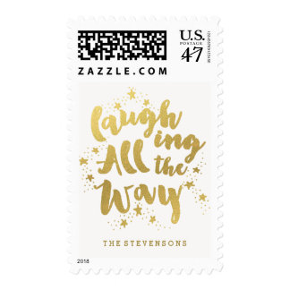 Laughing All the Way Golden Holiday Postage