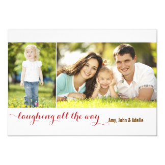 """Laughing all the Way Sage 2 Photo Holiday Card 5"""" X 7"""" Invitation Card"""