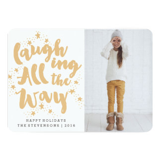 LAUGHING ALL THE WAY | SCRIPT HOLIDAY PHOTO CARD
