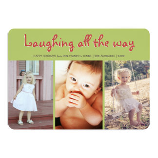 Laughing All Way Kids Christmas Flat Holiday Photo Card