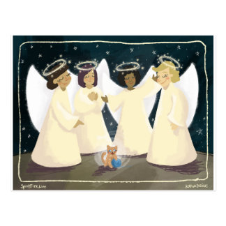 Laughing Angels and Kitty Postcards