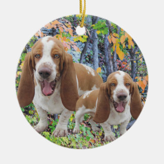 Laughing Basset Hounds Ceramic Ornament