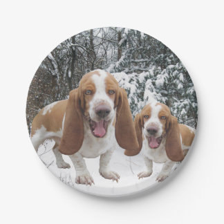 Laughing Basset Hounds In Snow Paper Plate