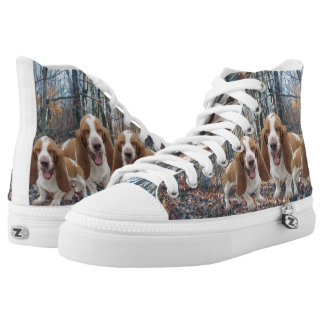 Laughing Basset Hounds In The Woods High-Top Sneakers