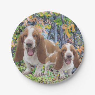 Laughing Basset Hounds Paper Plate