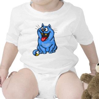 Laughing Blue Cartoon Cat Tees
