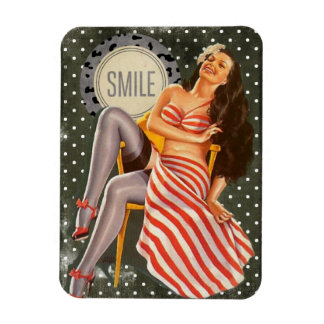 Laughing Brunette Pin-up Girl Photo Magnet