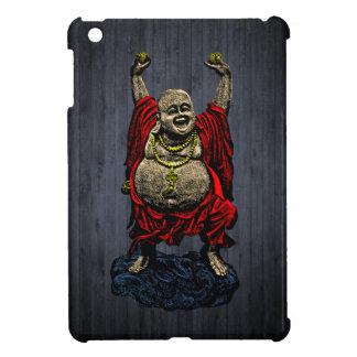 Laughing Buddha 4 color on dark wood iPad Mini Cases