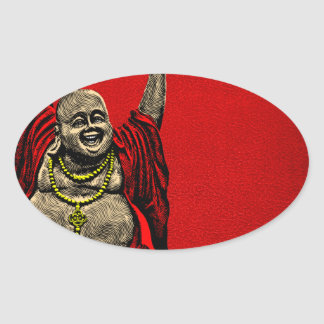 Laughing Buddha (4 color) Oval Sticker