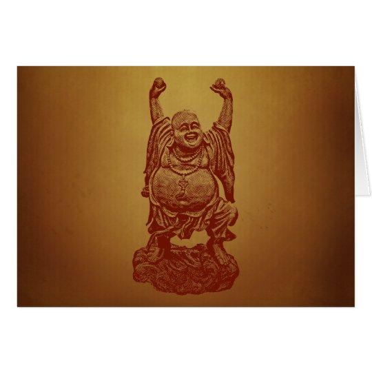 Laughing Buddha (dark red) Card