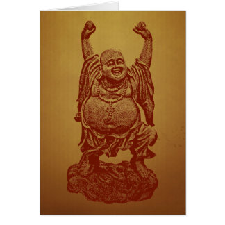 Laughing Buddha (dark red) Card