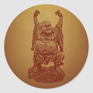 Laughing Buddha (dark red) Classic Round Sticker