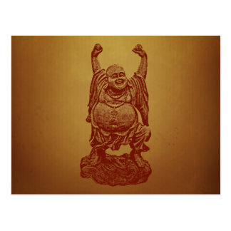 Laughing Buddha (dark red) Postcard