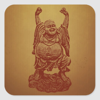 Laughing Buddha (dark red) Square Sticker