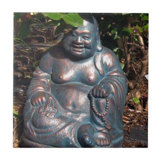 Laughing Buddha enjoying Spring sun Ceramic Tile