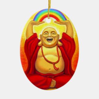Laughing Buddha Oval Christmas Ornament