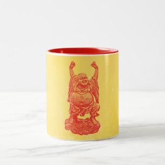 Laughing Buddha (red) Two-Tone Coffee Mug
