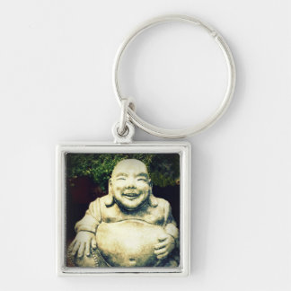 Laughing Buddha Silver-Colored Square Keychain
