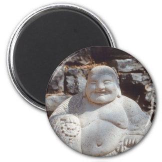 Laughing Buddha Statue 2 Inch Round Magnet