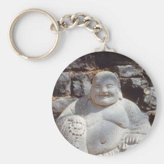 Laughing Buddha Statue Basic Round Button Keychain