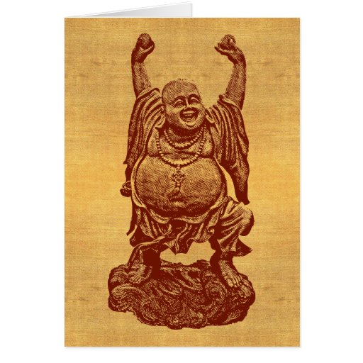 Laughing Buddha + your text! (dark red on paper) Greeting Card