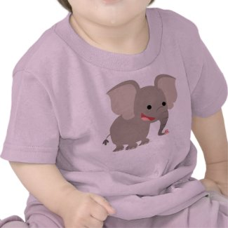 Laughing Cartoon Elephant Baby T-shirt shirt