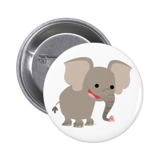 Laughing Cartoon Elephant Button Badge