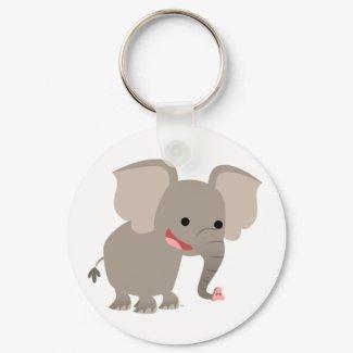Laughing Cartoon Elephant Keychain keychain