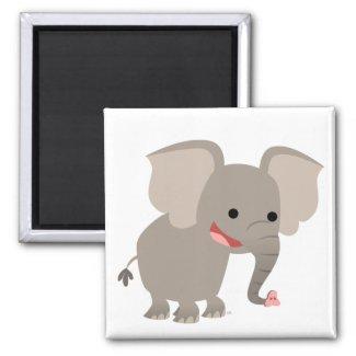 Laughing Cartoon Elephant Magnet magnet